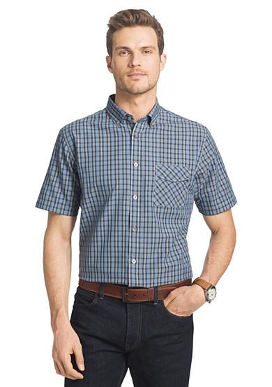 Van heusen short sleeve dot plaid woven shirt for Van heusen plaid shirts