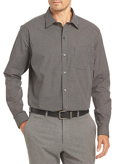 Van heusen non iron medium check traveler stretch shirt belk for Van heusen iron free shirts