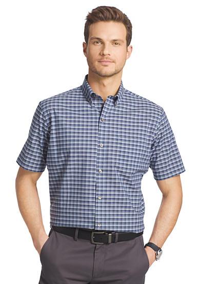 Van heusen short sleeve small plaid cool shirt belk for Van heusen plaid shirts