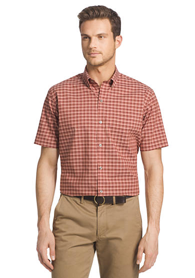 Van heusen short sleeve small plaid cool shirt for Van heusen plaid shirts