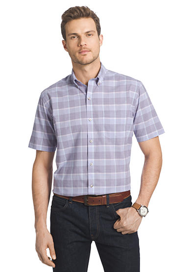 Van heusen short sleeve large plaid cool shirt for Van heusen plaid shirts