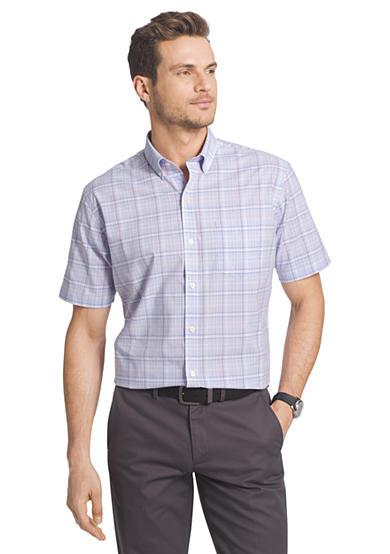 Van heusen short sleeve medium plaid cool shirt for Van heusen plaid shirts