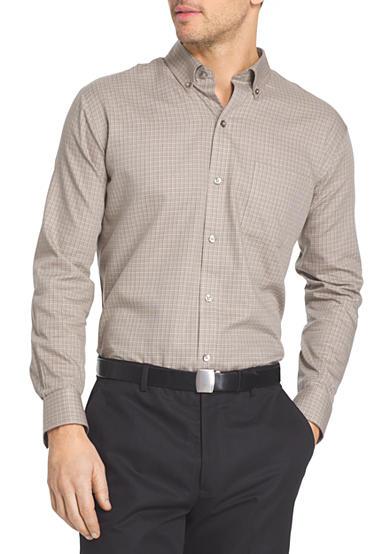 Van heusen long sleeve woven non iron large check shirt belk for Van heusen iron free shirts