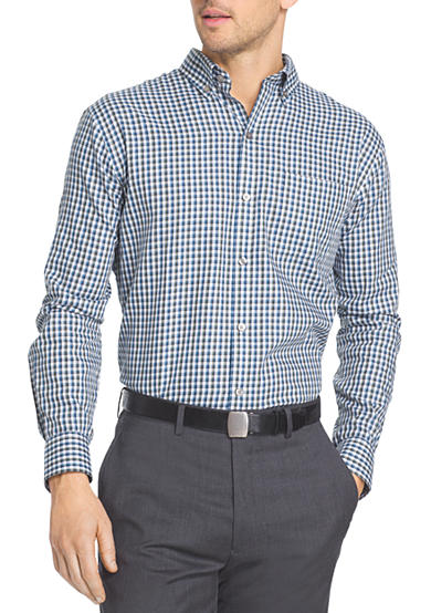 Van heusen long sleeve woven check non iron shirt belk for Van heusen non iron shirts