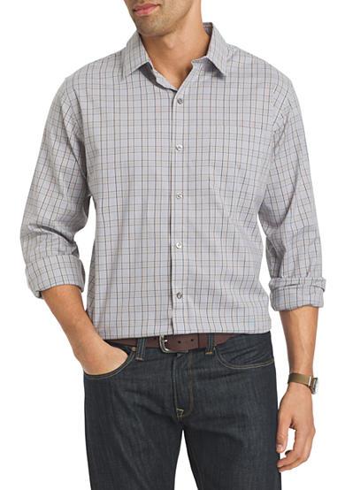Van heusen long sleeve traveler stretch non iron shirt belk for Van heusen iron free shirts