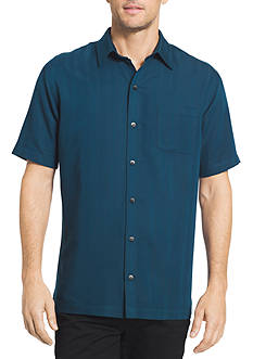 Van Heusen Short Sleeve Vertical Stripe Dobby Point Collar Shirt