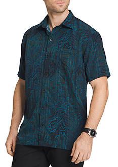 Van Heusen Short Sleeve Oasis Leaves Printed Dobby Point Collar Shirt