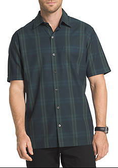 Van Heusen Short Sleeve Solid Plaid Button Down Shirt