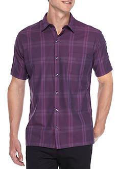 Van Heusen Short Sleeve Solid Plaid Button Down Shirt