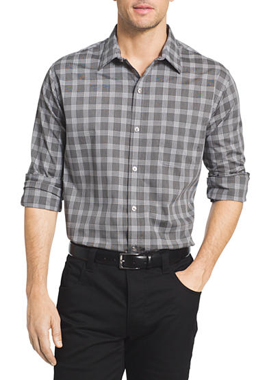 Van heusen long sleeve traveler plaid shirt belk for Van heusen plaid shirts