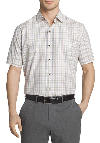 Van heusen short sleeve traveler air plaid point collar for Van heusen plaid shirts