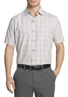 Van Heusen Short Sleeve Traveler Air Plaid Point Collar Shirt