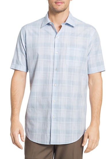 Van heusen short sleeve white washed dobby plaid shirt belk for Van heusen plaid shirts