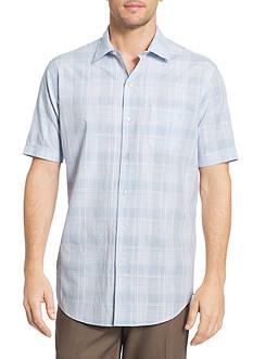 Van Heusen Short Sleeve White Washed Dobby Plaid Shirt