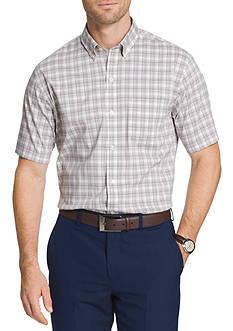 Van Heusen Short Sleeve Flex Non-Iron Stretch Plaid Shirt