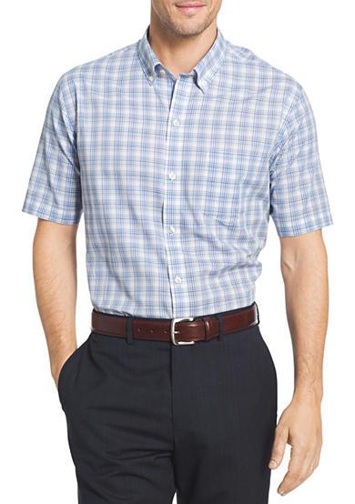 Van heusen short sleeve flex non iron stretch plaid shirt for Van heusen iron free shirts
