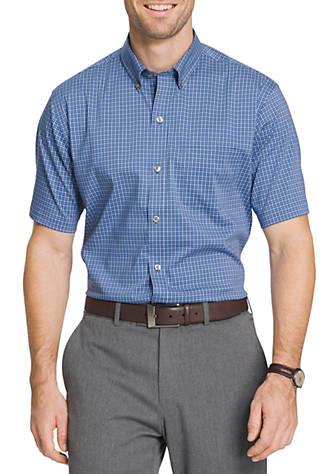 Van Heusen Short Sleeve Non Iron Stretch Mini Gingham
