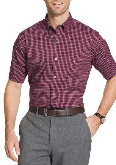Van heusen short sleeve non iron stretch mini gingham for Van heusen iron free shirts