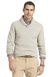 Van Heusen Long Sleeve Shawl Collar Fleece Sweater