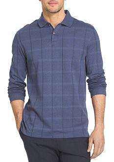 Van Heusen Long Sleeve Jaspe Windowpane Polo Shirt