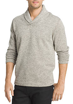 Van Heusen Long Sleeve Solid Shawl Collar Sweater Fleece Shirt