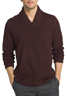 Van Heusen Long Sleeve Solid Shawl Collar Sweater Fleece Shirt
