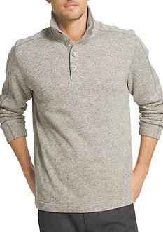 Van Heusen Long Sleeve Solid Button Mock Sweater Fleece