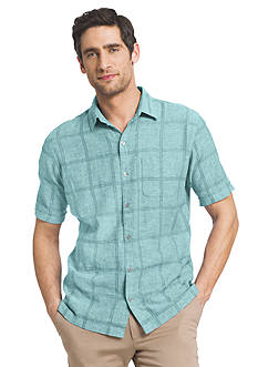 Van Heusen Big & Tall Short Sleeve Windowpane Print Woven Shirt