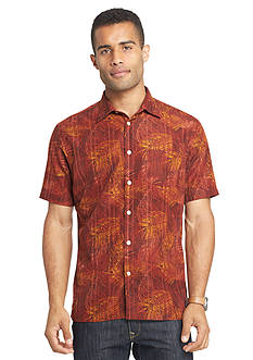 Van Heusen Big & Tall Short Sleeve Polynesian Print Woven Shirt