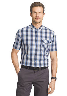 Van Heusen Big & Tall Short Sleeve Plaid Woven Shirt