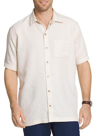 Van heusen big tall short sleeve button down windowpane for Van heusen men s short sleeve dress shirts