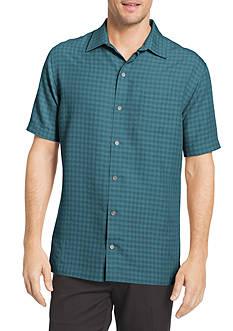 Van Heusen Big & Tall Short Sleeve Button Down Windowpane Shirt
