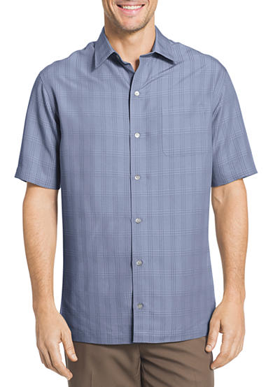 van heusen big tall short sleeve windowpane shirt belk