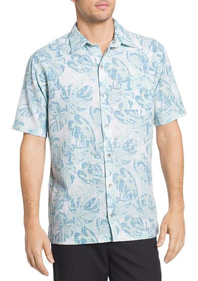 Van heusen big tall fan leaves printed collar shirt belk for Big and tall printed t shirts