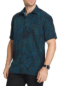 Van Heusen Big & Tall Short Sleeve Oasis Foliage Leaves Printed Shirt