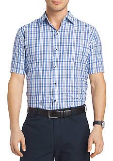 Van Heusen Big and Tall Short Sleeve Traveler Air Plaid Point Collar Shirt