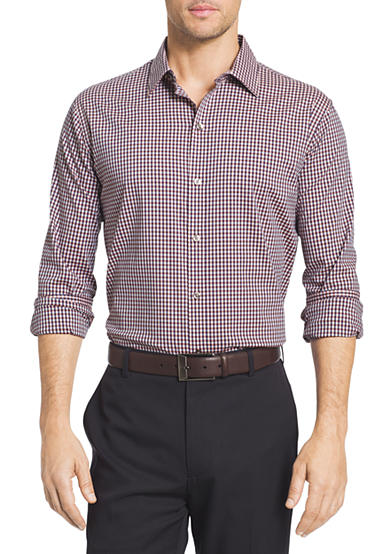 Van heusen big tall flex stretch gingham button down for Big and tall button up shirts