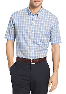 Van Heusen Big & Tall Short Sleeve Stretch Plaid Button Down