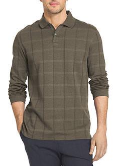 Van Heusen Big & Tall Long Sleeve Jaspe Windowpane Polo Shirt