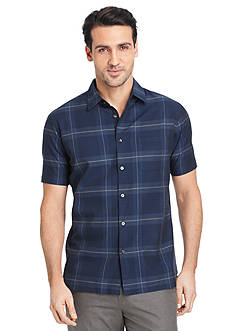 Van Heusen Big & Tall Short Sleeve Windowpane Sport Shirt