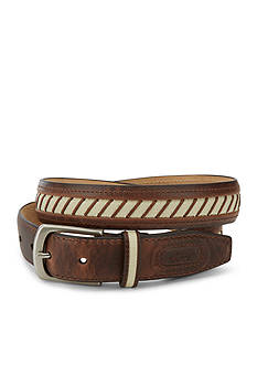 Greg Norman® Collection Leather and Canvas Inlay Striped Belt