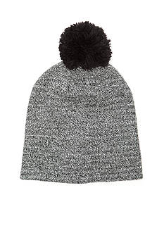 Saddlebred Striped Marled Knit Beanie with Pom Pom