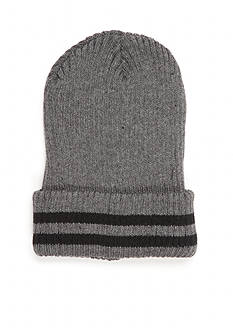 Saddlebred Knit Beanie with Striped Foldover Cuff