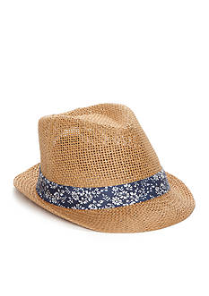 Saddlebred® Straw Fedora with Floral Band