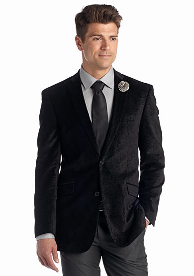 Madison Slim-Fit Black Paisley Velvet Sport Coat