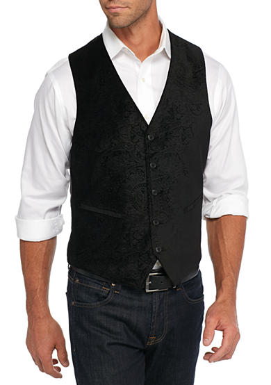 Madison Slim-Fit Black Paisley Velvet Vest
