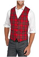 Madison Slim-Fit Red/Black Plaid Vest