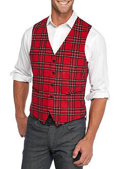Madison Slim-Fit Red/Black Plaid Vest
