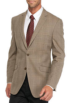 Madison Slim-Fit Light Brown Plaid Sport Coat