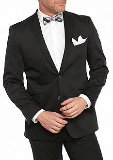 Madison Big & Tall Black Solid Motion Stretch Sport Coat